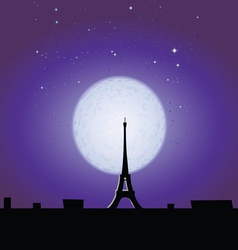 Eiffel tower in the moonlight vector