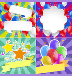 four banner design with bright balloons vector image