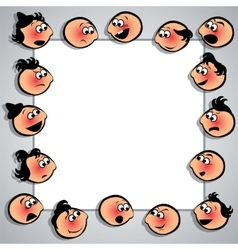 Frame with faces with diferent expressions vector image
