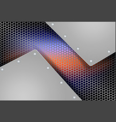 Geometric background with metal grille vector