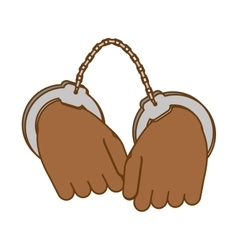 Hand with handcuffs icon image vector