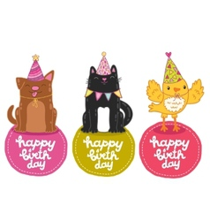 Happy Birthday labels with cat dog and bird vector image vector image