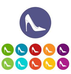 high heel shoe icons set flat vector image