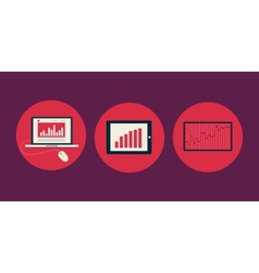 Icons of charts and graphs vector image vector image