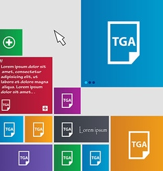 Image file type format tga icon sign buttons vector