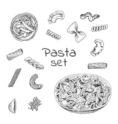 Ink hand drawn pasta variations set vector image vector image