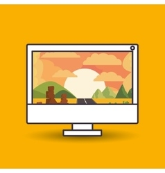 Landscape wallpaper for computer design vector