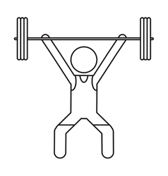 man weight lifter sport athlete outline vector image