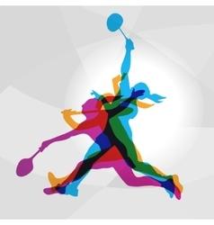 Modern badminton women players in action logo vector