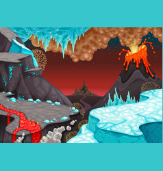 prehistoric landscape with fire and ice vector image
