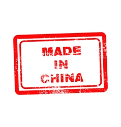 Red grunge stamp with the text made in China vector image