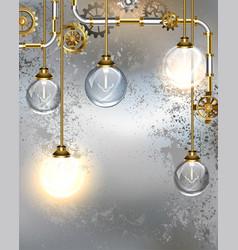 Round industrial light bulbs vector