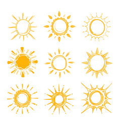 Shining bright hand drawn happy sun set vector