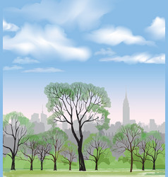 Spring trees park over city background landscape vector