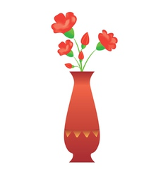 Tall vase with red flowers vector