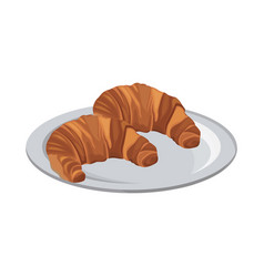 Tasty yummy croissant bread bake food with plate vector