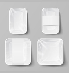 Template blank white plastic food container set vector
