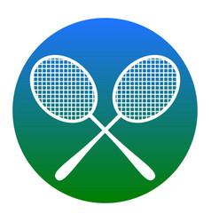 Tennis racquets sign white icon in bluish vector