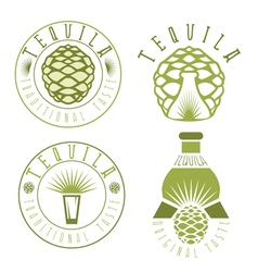 Tequila vintage set labels with agave and bottles vector