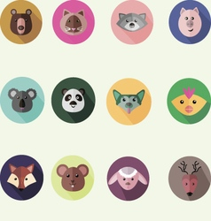Set of round icons with different animals vector image
