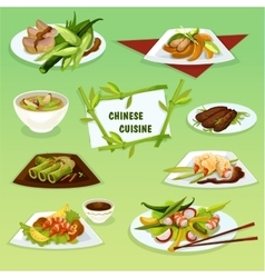 Chinese cuisine icon with seafood and meat dishes vector image