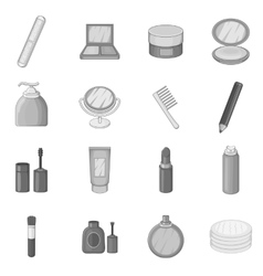 Cosmetics items icons set monochrome style vector