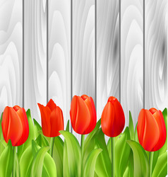 Beautiful tulips flowers on wooden background vector
