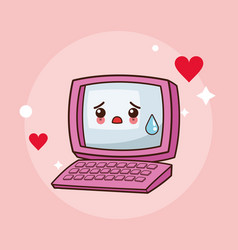 Kawaii computer cry image vector