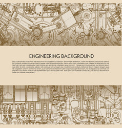 template engineering background with drawings of vector image