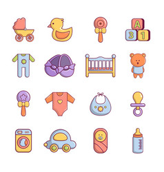 Baby born icons set cartoon style vector