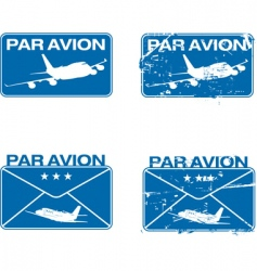 par avion rubber stamp vector image