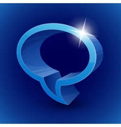 Shining 3d chat bubble symbol on blue background vector