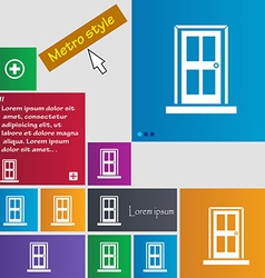 Door icon sign metro style buttons modern vector