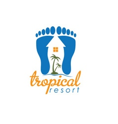 Tropical resort design template vector