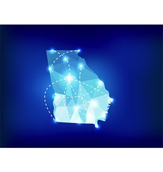 Georgia us state map polygonal with spot lights vector