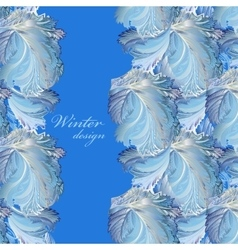 Blue vertical border winter frozen glass vector