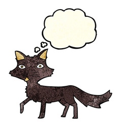 Cartoon little wolf with thought bubble vector