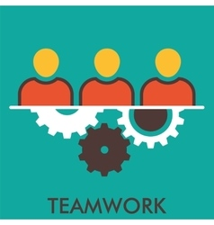 Teamwork mechanism group working cogwheel line vector