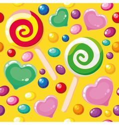 seamless pattern cute candies vector image