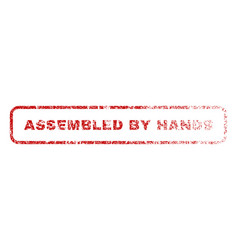 assembled by hands rubber stamp vector image