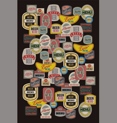 Beer menu design with retro beer labels vector
