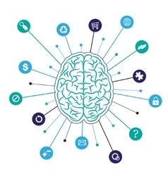 Brain background with icons vector image vector image
