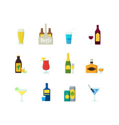 Cartoon alcoholic beverages color icons set vector