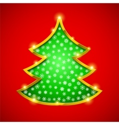 Christmas tree card with golden border vector image