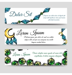 Diamonds and moon banners set vector