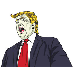 Donald trump shouting portrait cartoon vector
