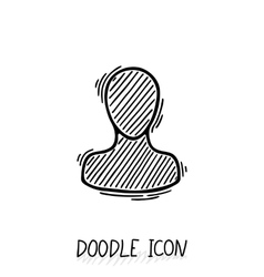 Doodle icon with human head Symbol think and vector image vector image