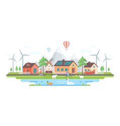 Eco-friendly village - modern flat design style vector