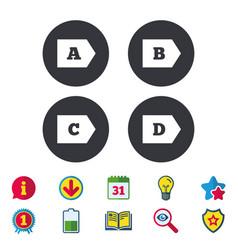 Energy efficiency class icons vector