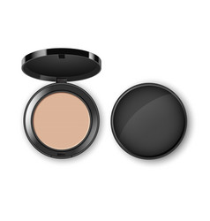Face cosmetic makeup powder in plastic case vector